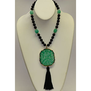 Kenneth Jay Lane Art Deco Pendant Necklace