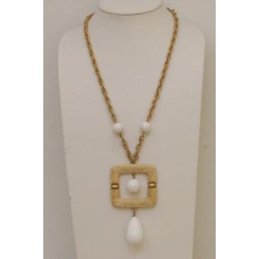 Napier Retro White Pendant Necklace