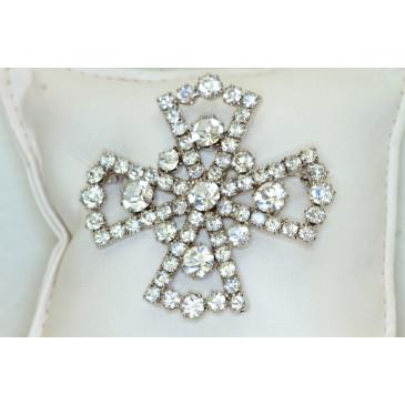 Vintage Rhinestone Maltese Cross Brooch