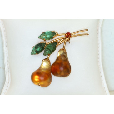 Austria Vintage Frosted Gold Pears Pin