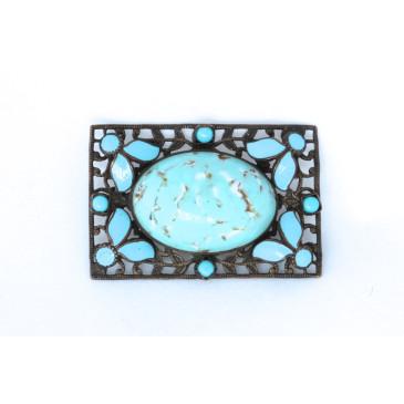 Neiger Czech Art Deco Robins Egg Blue Pin