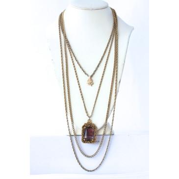 Goldette Amethyst Rose Necklace
