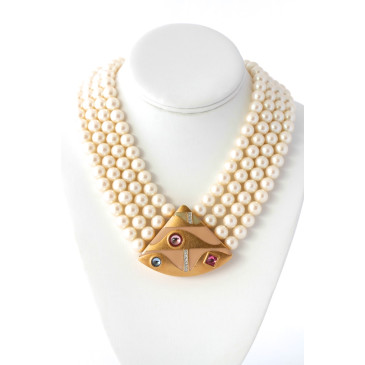 Monet Pearl Bib Necklace