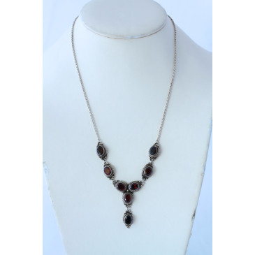 Garnet Sterling Silver Necklace