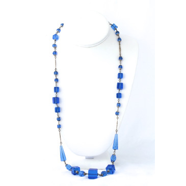 Czech Art Deco Blue Glass Cube Necklace
