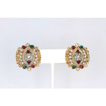 Ruby Emerald and Pearl Earrings