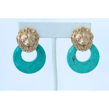 Turquoise Vintage Lion Hoop Pierced Earrings