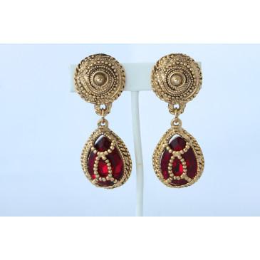 Vintage Red Crystal Drop Clip Earrings