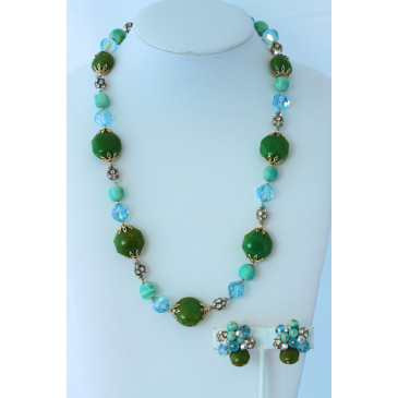 Vendome Vintage Green Glass and Crystal Necklace and Clip Earrings
