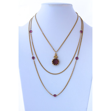 Goldette Vintage Intaglio 3 Strand Necklace