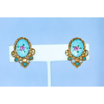 Art Turquoise Guilloche Enamel Clip Earrings