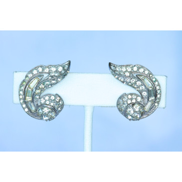 Boucher Rhinestone Clip Earrings