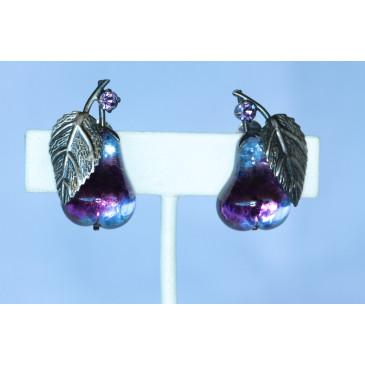 Vintage Austria Purple Pear Earrings