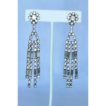 Kenneth Jay Lane Art Deco Crystal Chandelier Clip Earrings