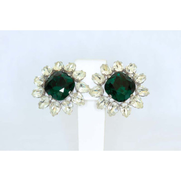 Vintage Emerald Crystal Clip Earrings