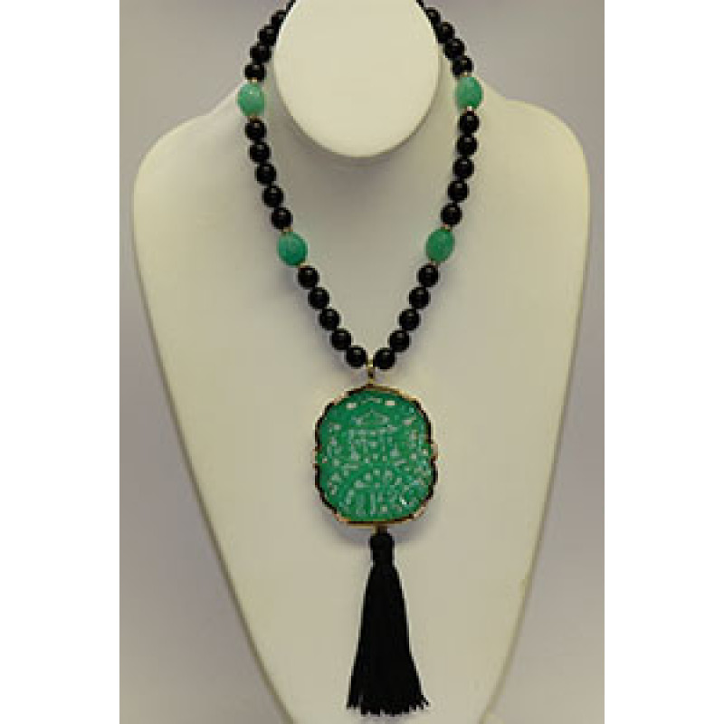 Kenneth jay lane art deco pendant necklace mozeypictures Image collections