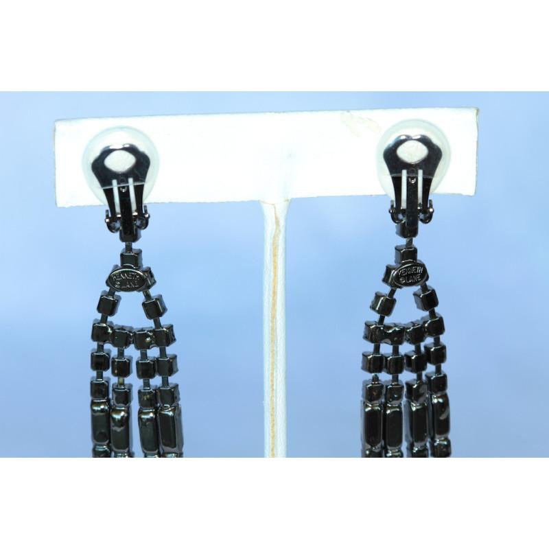 Clip Earrings Kenneth Jay Lane Art Deco Crystal Chandelier CrClip