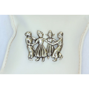 Lang Vintage Sterling Silver Dancing Children Pin