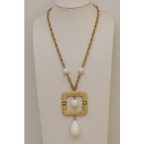 Napier Retro White Pendant Necklace