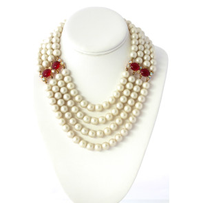 Schiaparelli Pearl Ruby Necklace