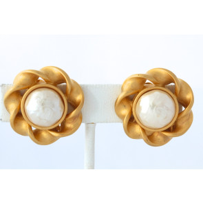 Karl Lagerfeld Pearl Clip Earrings