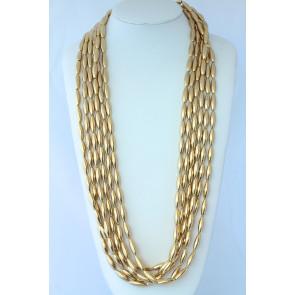 Vintage 6-Strand Goldplate Bead Necklace