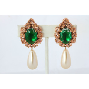 Pearl and Emerald Crystal Earrings