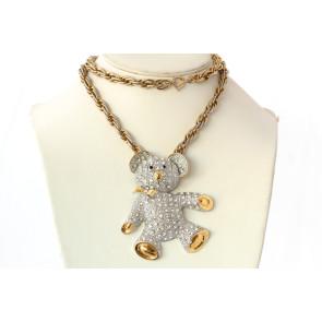 Huge Teddy Bear Crystal Pendant Necklace