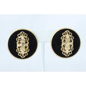 Vintage Black Velvet and Pearl 1970's Earrings