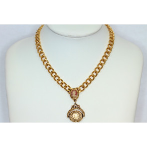 Goldette Cameo and Fob Necklace