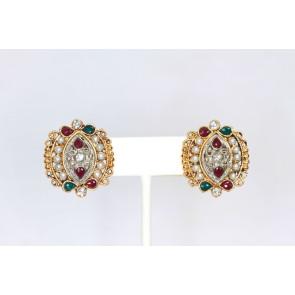 Ruby Emerald and Pearl Earrings