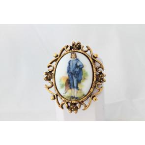 Vintage Limoges Blue Boy Pin