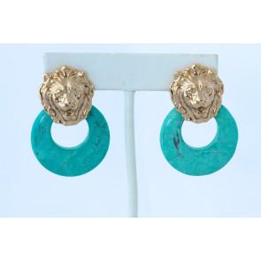 Turquoise Vintage Lion Hoop Pierced Earrings