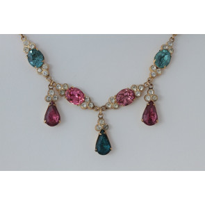Vintage Blue and Pink Rhinestone Drop Necklace