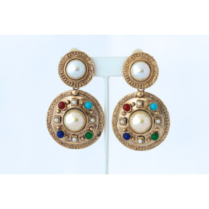 Vintage Pearl and Multi-Stone Drop Clip Earrings