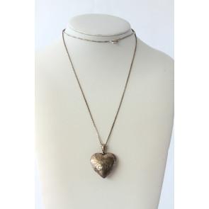 Vintage Sterling Silver Engraved Heart Locket Necklace