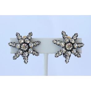 Vintage Starburst Rhinestone Clip Earrings