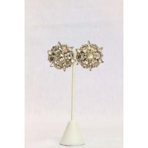 Vintage Rhinestone Round Clip Earrings