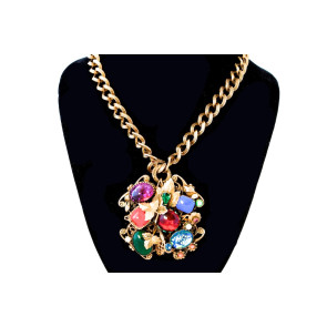 Czech Vintage Artglass Pin/Pendant Necklace