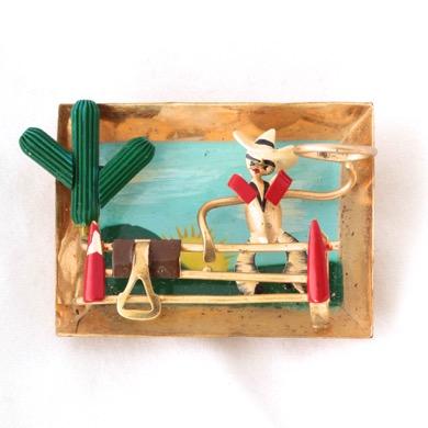 Cowboy 3D Scene Pin