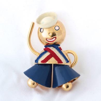 1930 Enamel Patriotic Sailor Pin